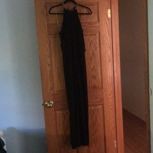 Long Black Dress with Gold Features Sized 8
